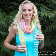 Crochet Alternate Stripes Scarf - Alternative Stripe Scarves - DIY Free Pattern and YouTube Tutorial Video - by Donna Wolfe from Naztazia
