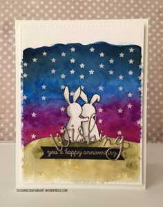 Wishing You A Happy Anniversary #handmade #watercolor card. Used #WPlus9 Wishing You stamp set and #SSSFAVE Wishing and Stitched Rectangles dies.