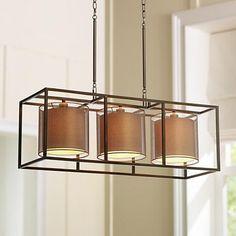 "Conroe Oil-Rubbed Bronze Metal Cube 37"" Wide Island Pendant Lamps Plus"