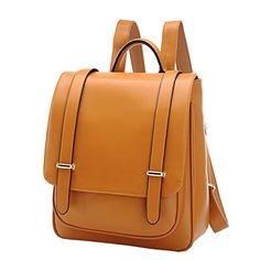 Coofit® Preppy Vintage School Shoulder Bags backpack for teen girls Yellow