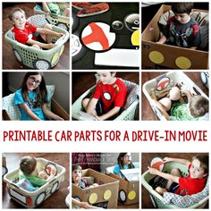 Let your kids have fun using boxes/laundry baskets and these Printable Car Parts for a Drive-in Movie night! Movie Night For Kids, Movie Night Party, Family Movie Night, Movies Box, Kid Movies, Craft Activities For Kids, Crafts For Kids, Preschool Decorations, Youth Activities
