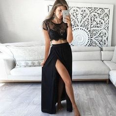 Two Piece Prom Dresses,Black Prom Dresses A-line,Modest Prom Dresses Lace,Long Sleeve Prom Dresses with Slit,Chiffon Prom Dresses Ankle-length Prom Dresses Two Piece, Prom Dresses Long With Sleeves, Long Prom Gowns, Black Prom Dresses, Cheap Prom Dresses, Homecoming Dresses, Sexy Dresses, Dress Prom, Dress Long