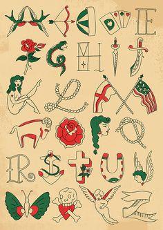 tattoo alphabet by harrydrawspictures, via Flickr
