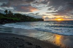 Photo by @andywcoleman // Wai'anapanapa State Park and its beautiful Black Sand Beach are located just off the Hana Highway before you get to Hana.  Maui is known for its sunsets, but this is one of those places where the sunrise can be just as spectacular.  As Earth Day approaches, this is the perfect spot to think about the planet we live on - and how to preserve it.  #NatGeoEarthDay