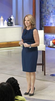 Katie wears this Elie Tahari blue dress for her interview with Shellie Zimmerman.