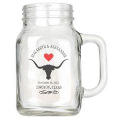 Longhorn Steer Rustic Country Wedding Mason Jar