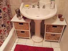 bathroom - beware: cabinets under pedestal are just too cluttered.  (Might as well just get a cabinet)