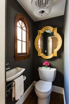 Powder room is a part from the bathroom and usually it is a half bathroom with a suitable vanity and bathroom sink with mirror. You can decorate your powder room in every single style, but it need to fit with… Continue Reading → Bad Inspiration, Bathroom Inspiration, Bathroom Ideas, Bathroom Remodeling, Remodeling Ideas, Bathroom Grey, Dark Brown Bathroom, Bathroom Tiling, Paint Bathroom