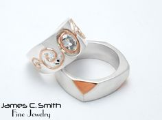 Wedding set in Sterling Silver and Rose gold. #love #gold #silver