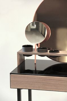 Virtu Orntau by Intuitiefabriek Materials: Walnut wood, coated steel, coloured mirror,magnifying mirror, copper, porcelain and glass.