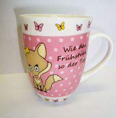 Kaffee - Tasse / Kaffeebecher Porzellan mit Fuchs rosa in Möbel & Wohnen, Kochen & Genießen, Gedeckter Tisch | eBay