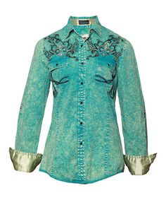 Take a look at this Turquoise Mixed Wash Rafaela II Button-Up - Women by Roar Clothing on #zulily today!