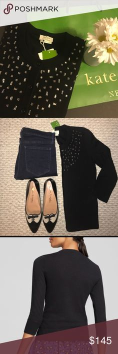🎉💕 kate spade Tokyo grid cardigan! NWT XS black cardigan! Perfect for cooler spring and summer nights. Sleeves are 3/4. Bundle to save 15% on 2 or more items. Or make me an offer. 💕💕🎉 kate spade Sweaters Cardigans