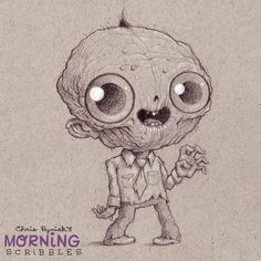 I'm I always draw zombies wearing ties. They're just business casual, I guess. #morningscribbles #countdowntohlowee