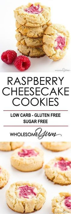 Cheesecake Cookies Recipe (Low Carb Raspberry Cheesecake Cookies) - These easy keto raspberry cheesecake thumbprint cookies are gluten-free & low carb. A cream cheese shortbread cookie with a raspberry swirl cheesecake center!