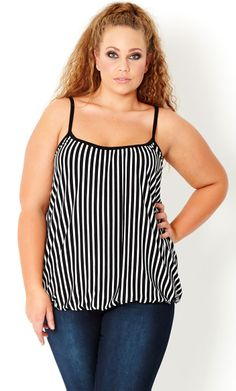 Look and feel great in this stylish, knit Stripe Bubble Hem Camisole! This soft and stretchy top drapes beautifully over curves and features an elasticised bubble hem, thin adjustable straps and is fully lined. Team this style with your Curvy Girl Fashion, High Fashion, Womens Fashion, Plus Size Fashion For Women, Plus Size Women, Plus Size Beauty, Kinds Of Clothes, Plus Size Casual, Discount Clothing