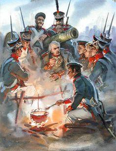 Blücher con i suoi fucilieri e artiglieri