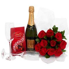 Lindor, Deco, Champagne, Bottle, Bouquet Of Roses, Flower Arrangements, Hampers, Beverages, Flask
