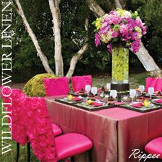 Want drama at the party? Shocking pink and acid green beautifully mixed.