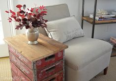 Old Beverage Crates...re-purposed into a side table...By Tattered Style.