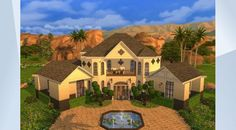 Check out this lot in The Sims 4 Gallery! - Beautiful Mansion with swimming pool, gym, and intimate outdoor wedding! #desert #mansion #celebrity #three #big #classic #spanish