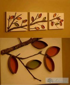 Creative decorative idea made out of toilet paper rolls Kids Crafts, Fall Crafts, Diy And Crafts, Craft Projects, Arts And Crafts, Toilet Paper Roll Art, Toilet Paper Roll Crafts, Tissue Paper Roll, Diy Wall Art