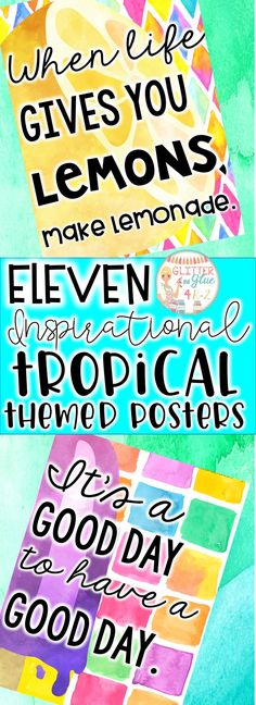 Looking for something beautiful and inspirational to brighten up your classroom? These posters have a watercolor background with black lettering and tropical accents! Keywords: Classroom décor, classroom inspiration, back to school, tropical theme, tropical décor, watercolor, watercolor décor, inspirational quotes