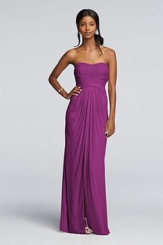 Take a closer look at the unique waistline on this long strapless mesh and lace bridesmaid dress: The pleating is both chic and forgiving.   Features a pleated bodice and draping in all the right plac