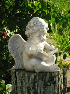 Reading cherub I have in my garden! Garden Statues, Garden Sculpture, Entertaining Angels, Angel Readings, Little Cherubs, I Believe In Angels, Ange Demon, My Guardian Angel, Garden Angels