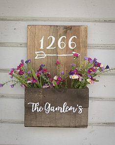 Rustic address planter, Custom address sign, planter box - All About Front Door Signs, White Chalk Paint, Backyard Playground, House Numbers, Diy Signs, Flower Boxes, Planter Boxes, Simple House, Patio Design