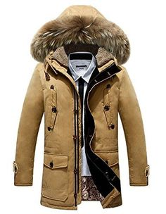 Geval Men's Winter Down Coat Fur Hood Cold Weather Down J...