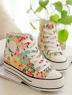High Top Floral Canvas Shoes