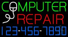 Computer Repair Blue Border Clear Backing Neon Sign Tall x Wide Man Cave Signs, Man Cave Bar, Man Cave Arcade, Man Cave Lighting, Man Cave Furniture, Man Cave Accessories, Computer Repair, Neon Signs, Blue