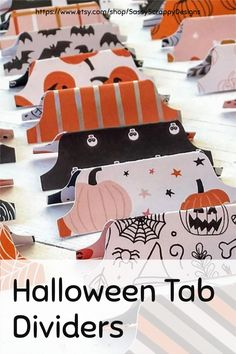 Add these Halloween-inspired tab dividers to your journal, planner and scrapbook supplies! These colorful, patterned tab dividers are doubled-sided with Halloween patterned paper. Tabs are made of double-sided cardstock, so both sides can be used. Set comes with 12 tabs in different pattern designs. Planner Supplies, Scrapbook Supplies, Scrapbooking, Journal Cards, Junk Journal, Journal Ideas, Bullet Journal Hacks, Bullet Journals, Halloween Patterns