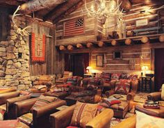 cabin, movie theaters, ralph lauren, home theaters, movie rooms, theater rooms, theatre rooms, media rooms, leather chairs