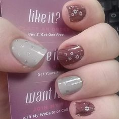 Jamberry nails. Marsala in Bloom with Icy Taupe Polka. Shop online: www.kimd.jamberrynails.net