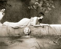 Girl playing with fishes, 1901 (photogravure)  Photographer: Fitz W. Guerin, St Louis, USA