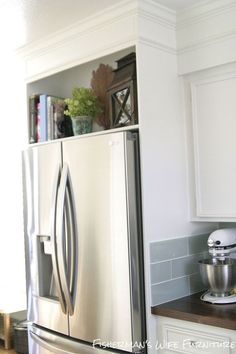 Great idea for that awkward little cabinet area I don't like! Home Built Refrigerator Enclosure :: Hometalk