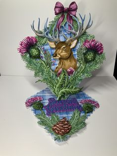 Over the mantle piece and festive stag. Created and uploaded by Lindsay Atherton 🤗 Tattered Lace Cards, Mantle Piece, Christmas Cards, Christmas Ornaments, Die Cut Cards, Easel, Handmade Cards, Card Ideas, Festive