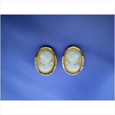 dainty cameo earrings gold-tone clip on - charity sale on eBid uk