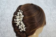 White Pearl Wedding Veil Comb by IDoDeclareWeddings, $47.00