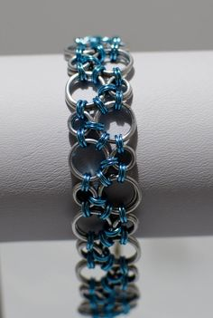 Ice Blue Bubbles Hodo Chainmaille Bracelet by DaisiesChain on Etsy, $23.00