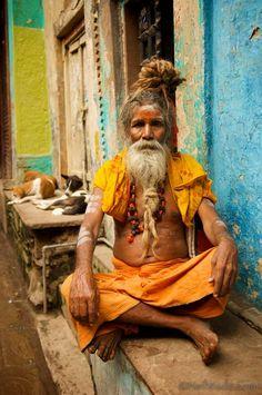 Sadhu in Varanasi with rudraksha mala