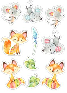 Скрапбукинг, рукоделие Journal Stickers, Planner Stickers, Printable Stickers, Cute Stickers, Cute Illustration, Watercolor Illustration, Fox Crafts, Tumblr Stickers, Floral Logo