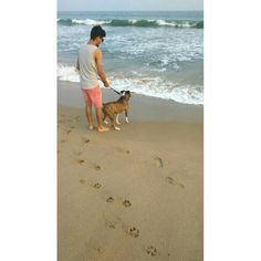 #beach #petdog #dog #waves