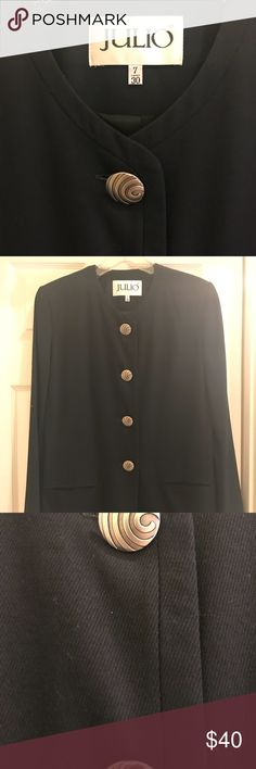 "Black coat Black coat 30"" long nice with pants or short skirt extra buttons size 7 lined Jackets & Coats Blazers"