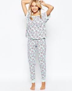 Image 1 of ASOS Donut Print Tee & Legging Pajama Set