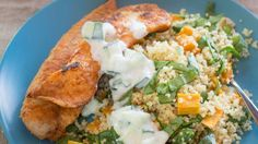 Cumin, coriander and paprika spiced fish with lemony couscous & cucumber dip - Kumara and couscous, combined with lemon zest and juice and chopped baby spinach makes a delicious salad.