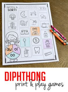 Six different NO PREP games and activities to practice diphthongs in your first and second grade classroom!