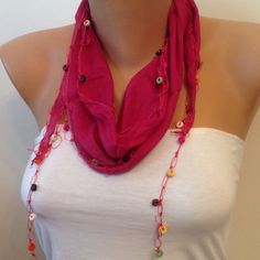 Check out this item in my Etsy shop https://www.etsy.com/listing/222823022/fuschia-wooden-beaded-cotton-crochet